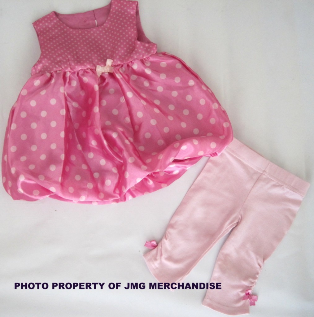 New-Baby-Girls-Pink-dress-leggings-set-party-outfit