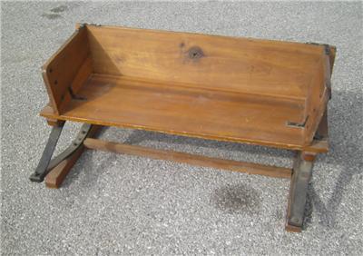 antique buckboard bench wagon seat oak wooden primitive