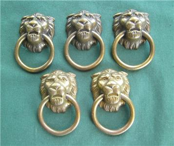 Brass Lion Head Door Pulls Furniture Cabinet Dresser Drawer Home