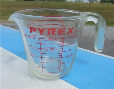 pyrex corning 516 2 cup measuring cup glass 16 oz 1 pint metric 500ml red letter ebay. Black Bedroom Furniture Sets. Home Design Ideas