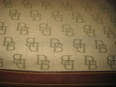DOONEY & BOURKE Vintage Taupe Green DB Canvas Brown Leather Hobo