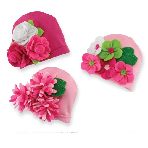 Mud-Pie-Baby-Girl-Little-Sprout-Knit-Cap-w-Felt-Flowers-0-12M-NEW