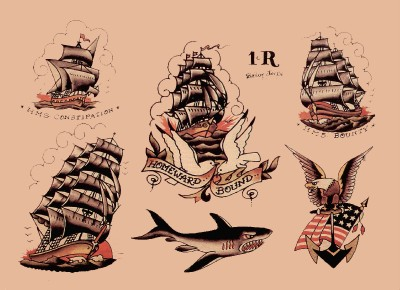 Sailor Jerry Tattoo Designs on Tattoo Flash 10 Sailor Jerry Sheets Old School Sailing Ships Theme