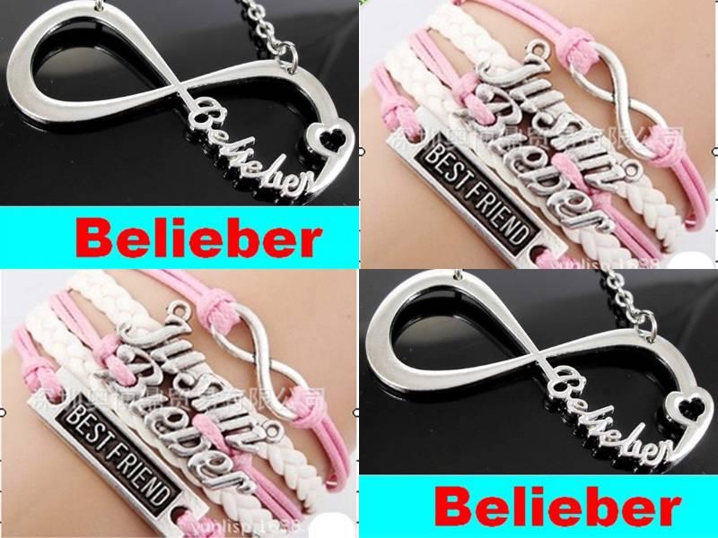 2pcs belieber jb justin bieber bracelet infinity necklace