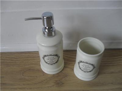 Salle de bain l 39 hotel paris cream vintage shabby chic soap dispenser amp - Salle de bain retro chic ...