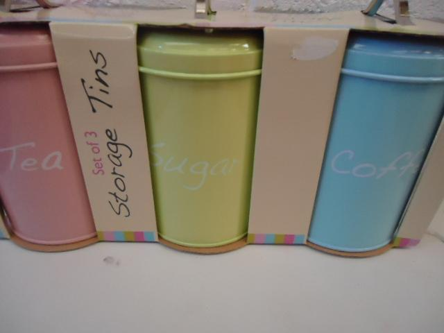 New tea coffee sugar modern kitchen storage canisters pastel hot pink black ebay - Modern tea and coffee canisters ...