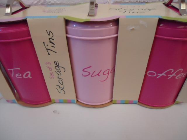 New tea coffee sugar modern kitchen storage canisters pastel hot pink black ebay - Pink tea and coffee canisters ...