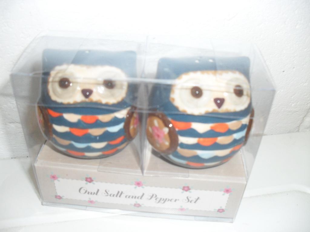 Bnib Sass Belle Green Or Blue Owl Ceramic Salt Pepper Pot Shaker Set Ebay