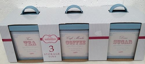 BNIB Vintage Retro shabby chic patisserie pastel tea coffee sugar storage tins