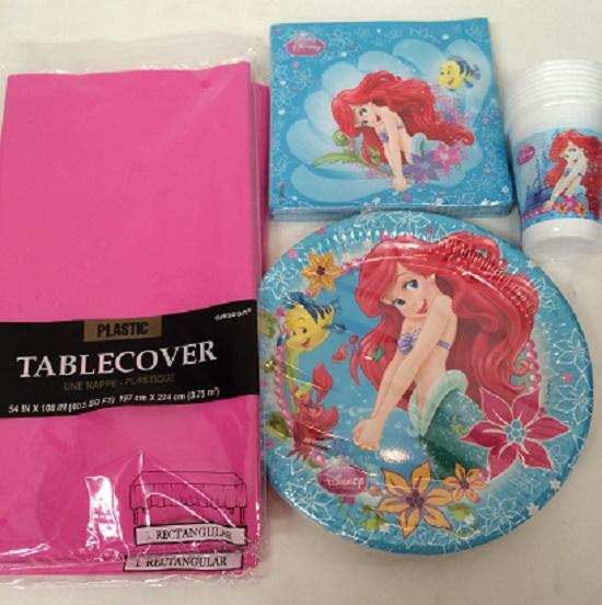 Disney-Princess-Little-Mermaid-Ariel-girls-party-plates-napkins-tablecloth-cups