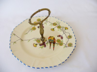 1930s art deco cake plate love birds and exotic flower decoration ebay