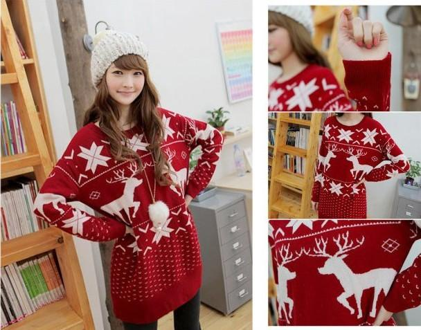 H04 christmas deer snowflake knit jumper pullover top dress red free