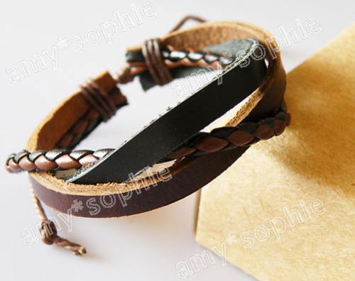 Hemp-Surfer-Tribal-Multi-Wrap-Cuff-Leather-Bracelet-M51
