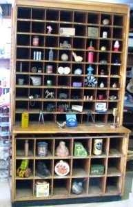 ANTIQUE-PAIR-OAK-HARDWARE-DISPLAY-SHELVING-CABINET-CASE
