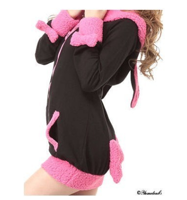 Women-Cute-Bunny-Rabbit-Ear-Hoodie-Sherpa-Jacket-Coat-Junior-Size-4