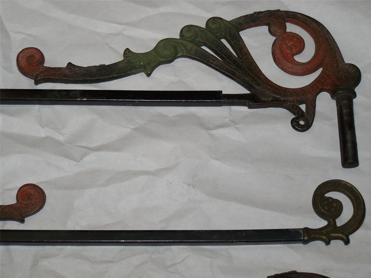 antique vintage victorian swing arm curtain rods lot of 4 cast iron