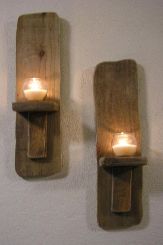 Diy Wall Sconces For Candles : TWO Irish Driftwood Wall Candle Sconces, Handcrafted in Ireland, Choice of SIZES