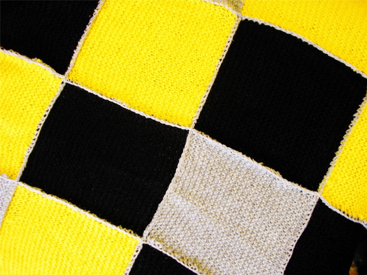 Vintage Knitted Afghan Throw Blanket From Ireland Yellow