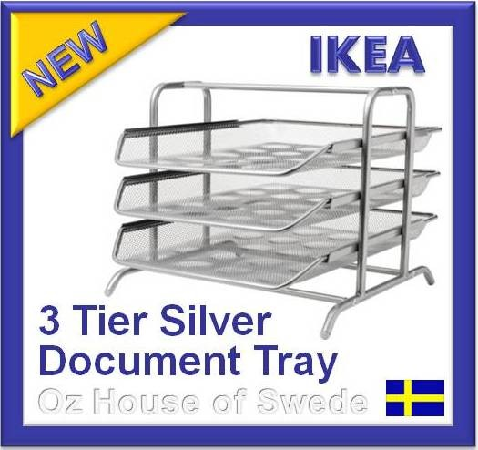 Ikea 3 tier wire mesh metal tray document letter organiser for Two tier desk ikea