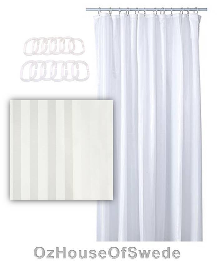 Ikea White Shower Curtain Stripe 180 X180cm Bonus 12 Clear Curtain Rings Free Ebay