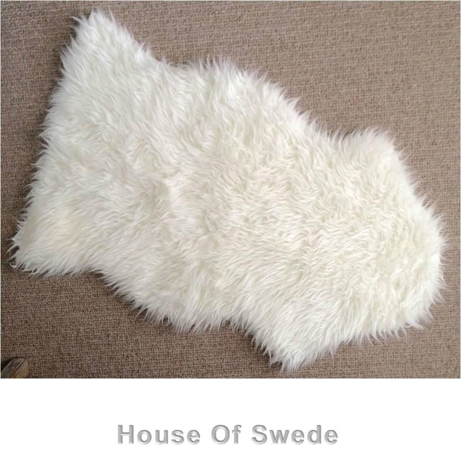 Ikea faux sheepskin floor rug soft warm tejn white brand new for Lambskin rug ikea