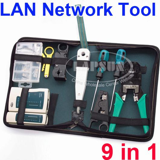 9pc rj45 rj11 rj12 lan network tool bag kit set cable for Canape network testing tool