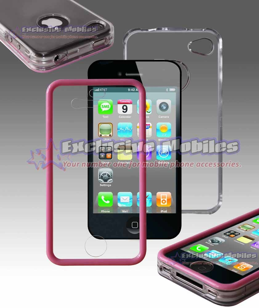 Apple Iphone 4 4g Pink Clear Touchable Hard Case Cover
