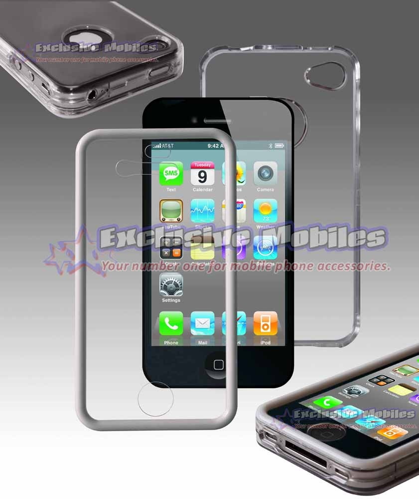 Apple Iphone 4 4g White Clear Touchable Hard Case Cover
