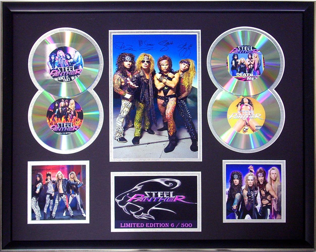 Steel-Panther-Signed-Limited-Edition-Framed-Music-Memorabilia-4-CD-Display