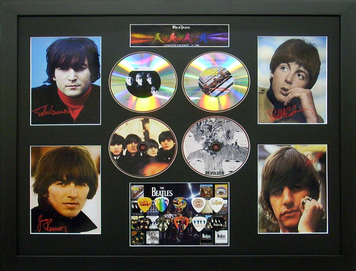 The-Beatles-Signed-Ltd-Edition-4-CD-Photo-Guitar-Pick-Commemorative-Display