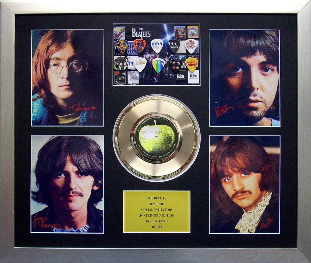 Beatles-Hey-Jude-Special-Collectors-Ltd-Ed-Framed-24KT-Gold-Record-Memorabila