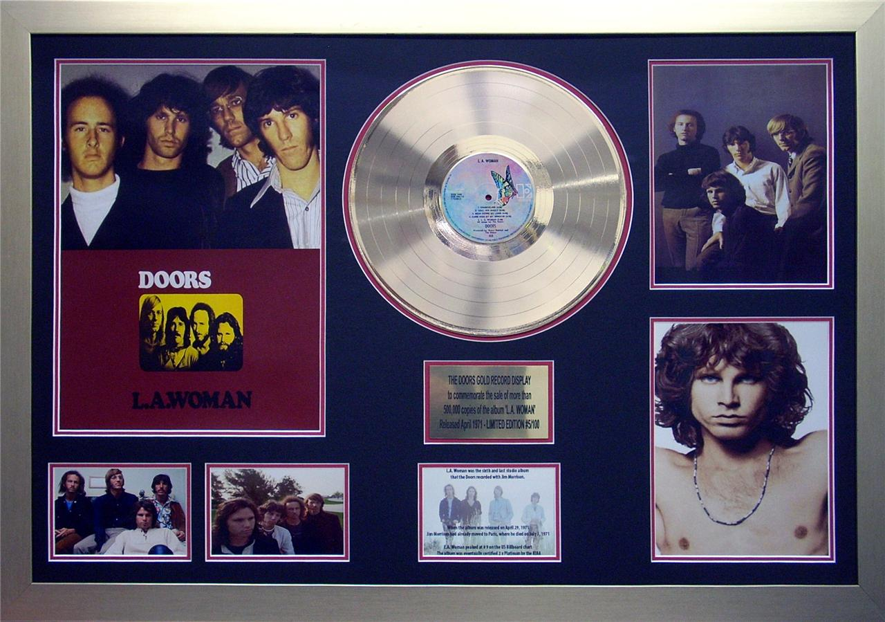 The-Doors-Jim-Morrison-L-A-Woman-24KT-Gold-12-inch-Record-Framed-Memorabilia