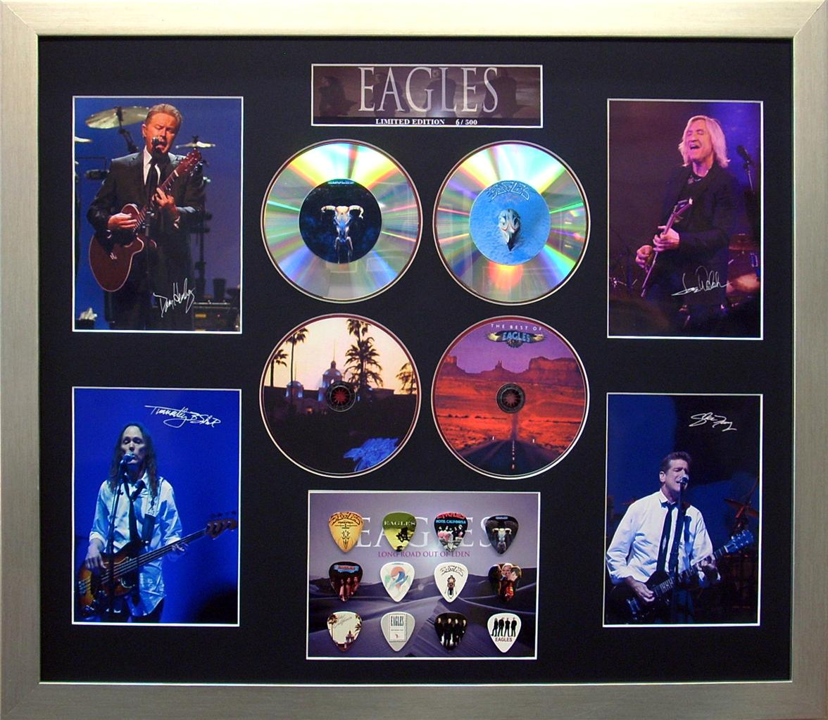 The-Eagles-Signed-Ltd-Edition-4-CD-Photo-Guitar-Pick-Framed-Memorabilia