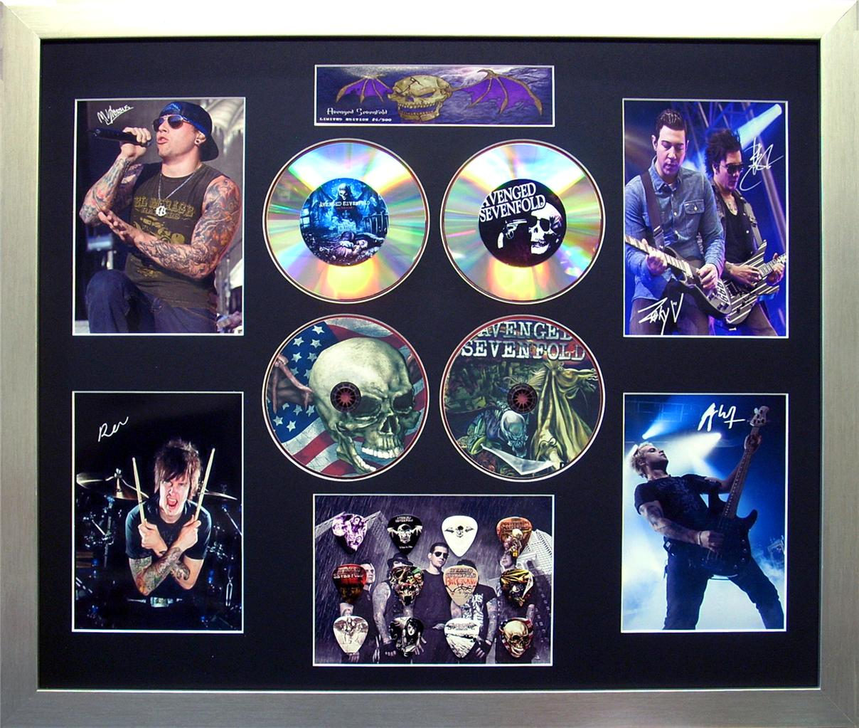 Avenged-Sevenfold-Signed-Ltd-Edition-4-CD-Photo-Guitar-Pick-Framed-Memorabilia