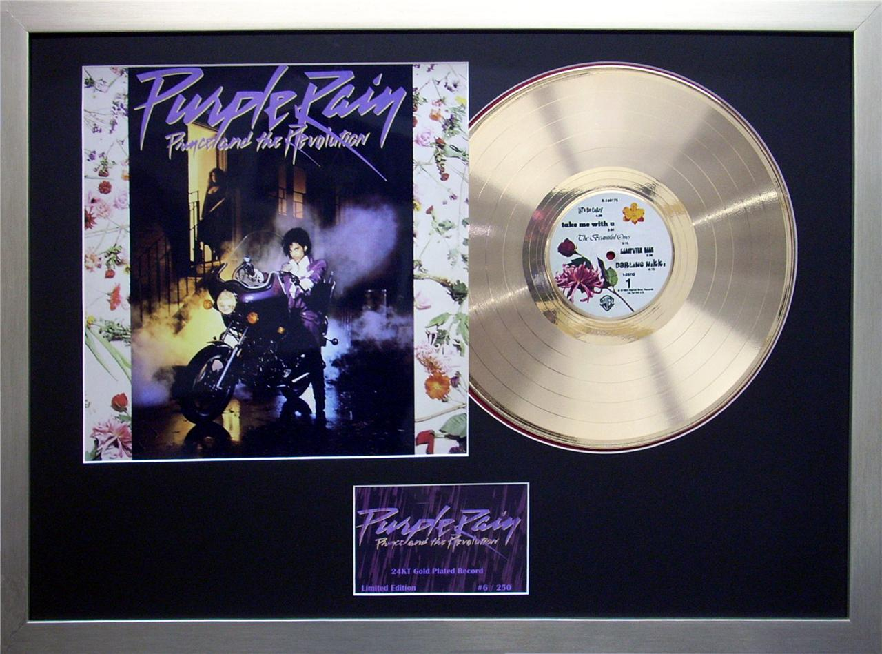Prince-The-Revolution-Purple-Rain-24KT-Gold-12-inch-Record-Framed-Memorabilia