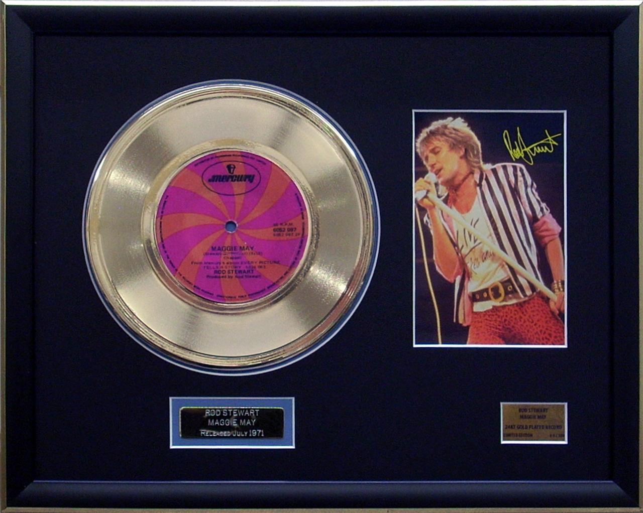 Rod-Stewart-Maggie-May-Limited-Edition-Framed-24KT-Gold-Record-Memorabilia