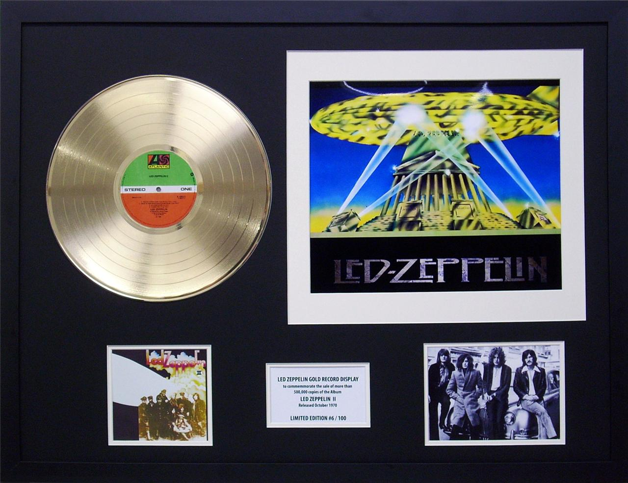 Led-Zeppelin-Two-Gold-12-inch-Vinyl-Record-Framed-Music-Memorabilia-Display
