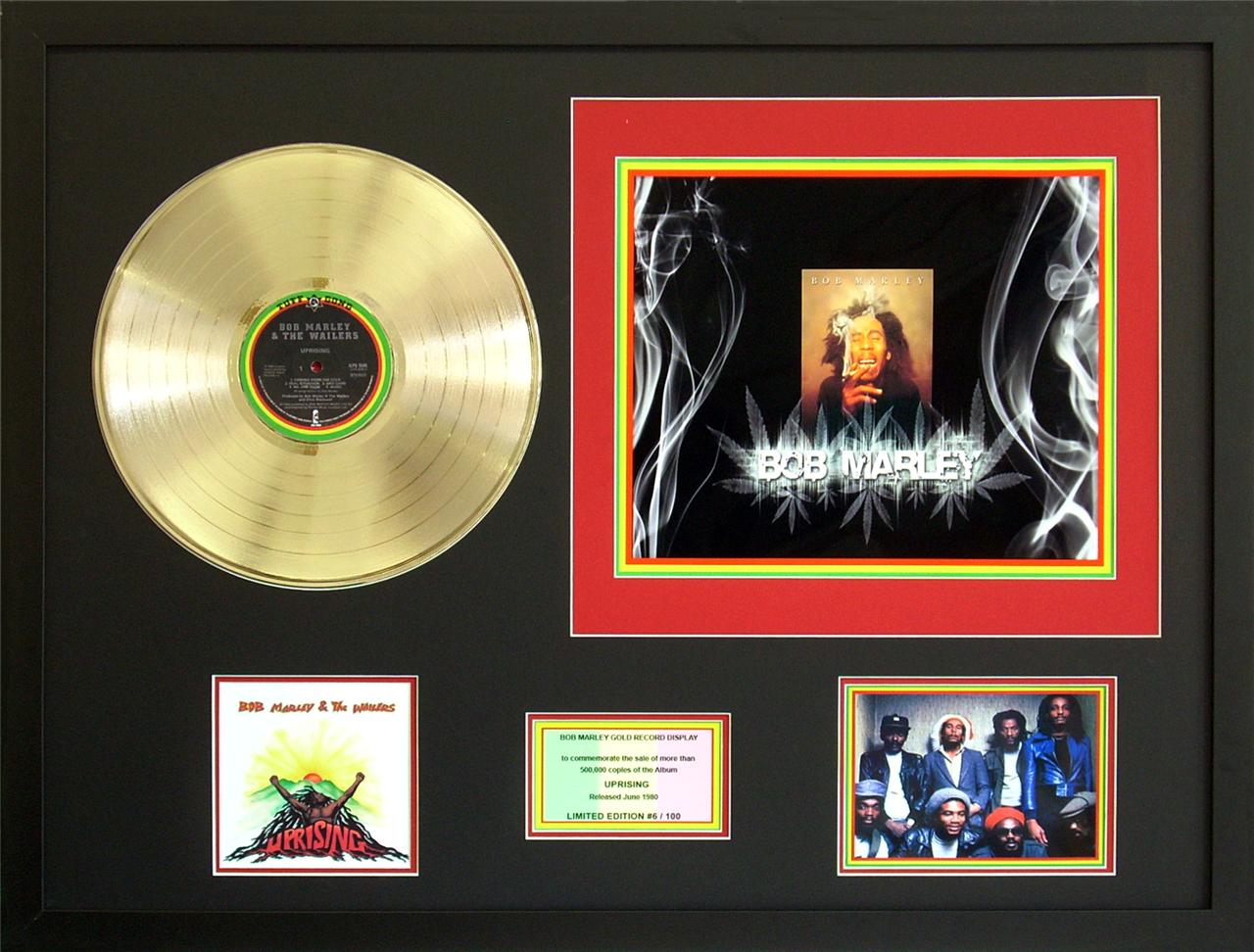 Bob-Marley-Rise-up-Gold-12-inch-Vinyl-Record-Framed-Music-Memorabilia-Display