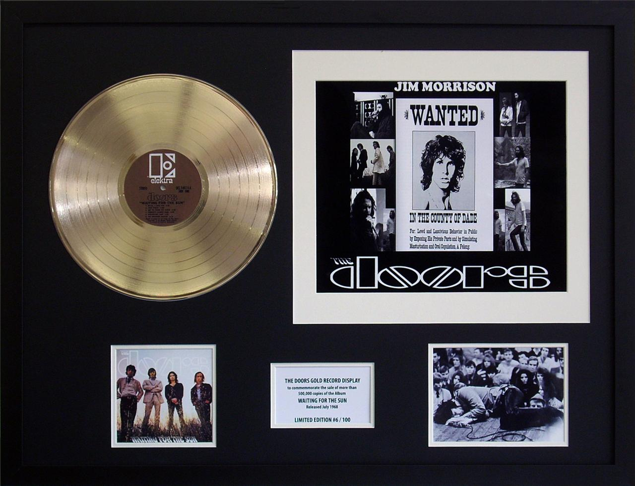 The-Doors-Waiting-For-The-Sun-Gold-12-inch-Vinyl-Record-Framed-Memorabilia