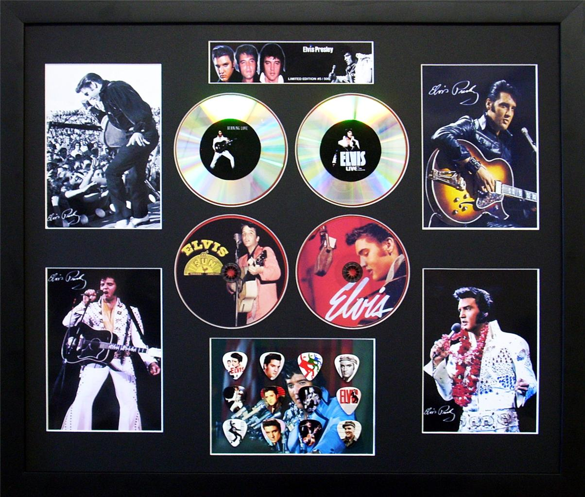 Elvis-Presley-Signed-Ltd-Edition-4-CD-Photo-Guitar-Pick-Memorabilia-Display