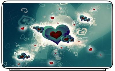 Love Hearts Laptop Netbook Skin Cover Sticker Decals