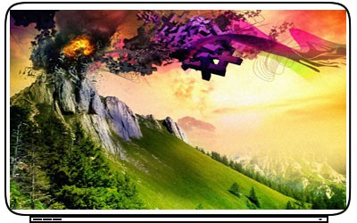 Lava Fire Volcano Mountain Scenary Laptop Netbook Skin Decal Cover