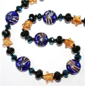 STARRY NIGHT VAN GOGH BLUE MURANO LAMPWORK GOLD STAR CRYSTAL BEAD NECKLACE 19 5    eBay from cgi.ebay.co.uk
