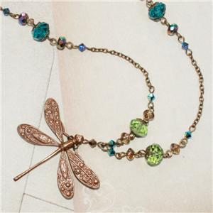 DRAGONFLY PENDANT NECKLACE BLUE GREEN CRYSTAL ART NOUVEAU DECO VINTAGE STYLE 35