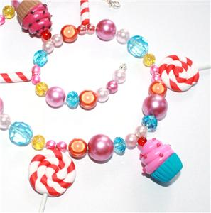 CUPCAKE LOLLIPOP SWEETS CANDY KATY NECKLACE COSTUME 20