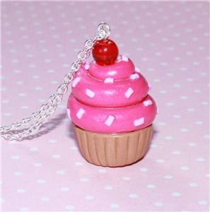 PINK CHERRY CUPCAKE CHARM NECKLACE KITSCH KAWAII 24