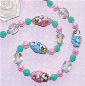 CUTE RUSSIAN DOLL PINK SHABBY CHIC BEAD NECKLACE 22