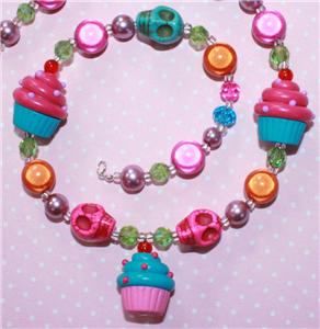 CUPCAKE & SKULLS NECKLACE ROCKABILLY SCENE KITSCH 23