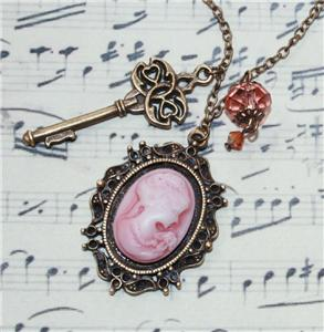 CAMEO CHARM NECKLACE WITH KEY & CRYSTAL STEAMPUNK VINTAGE ANTIQUE STYLE 24