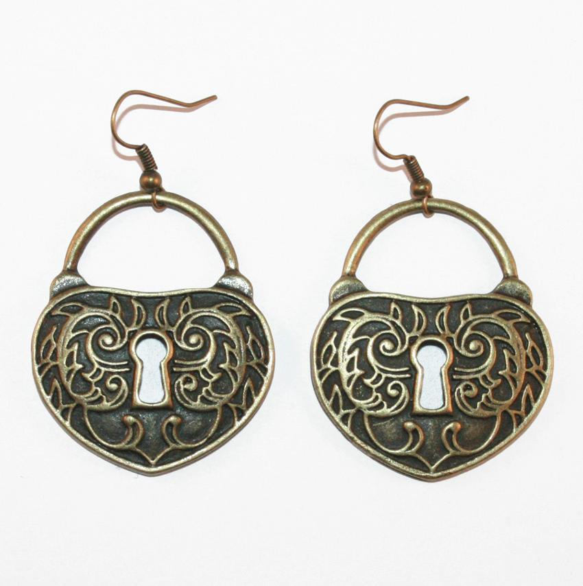 padlock earrings bronze antique gold lock ornate